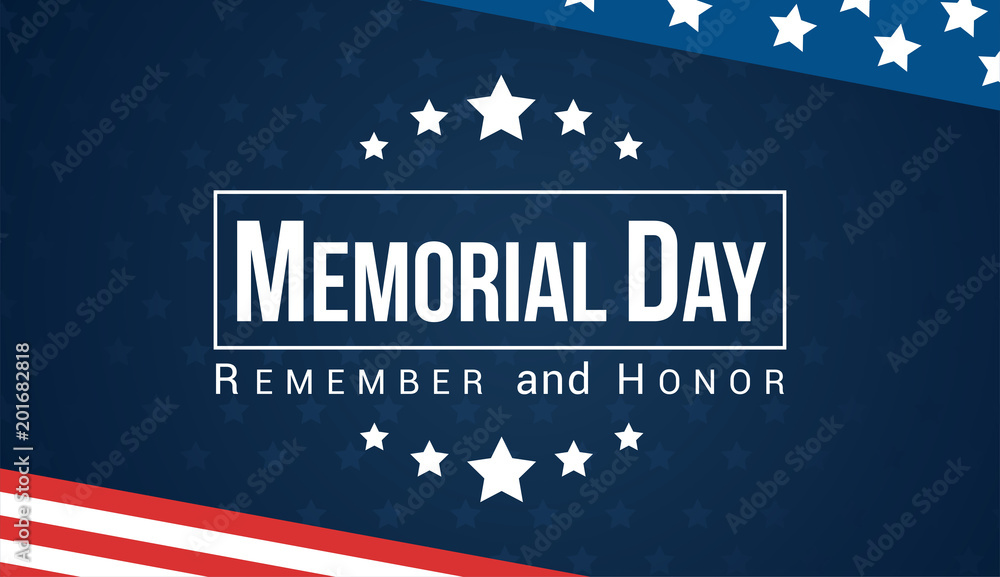 Fototapeta Memorial Day - Remember and honor with USA flag, Vector illustration.