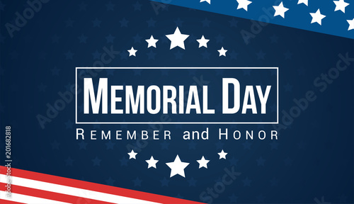 Cuadros en Lienzo Memorial Day - Remember and honor with USA flag, Vector illustration