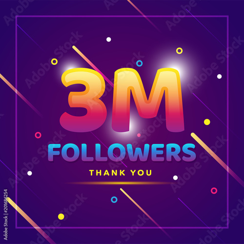 3m or 3000000 followers thank you colorful background and glitters