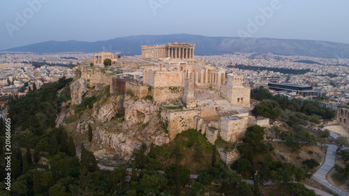 Poster Aerial view of Acropolis of Athens ancient citadel in Greece