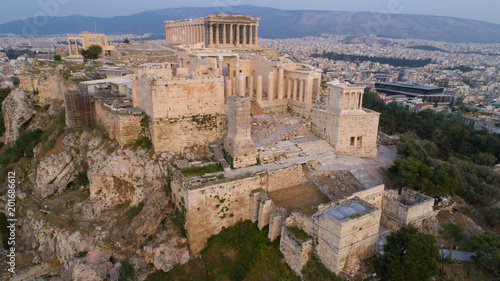 Poster Athens Aerial view of Acropolis of Athens ancient citadel in Greece