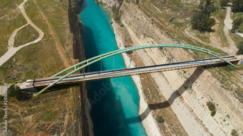 Aerial view of famous Corinth Canal of Isthmus, Peloponnese. Fototapet