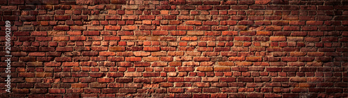 Photo sur Toile Brick wall Old Red Brick wall panoramic view.