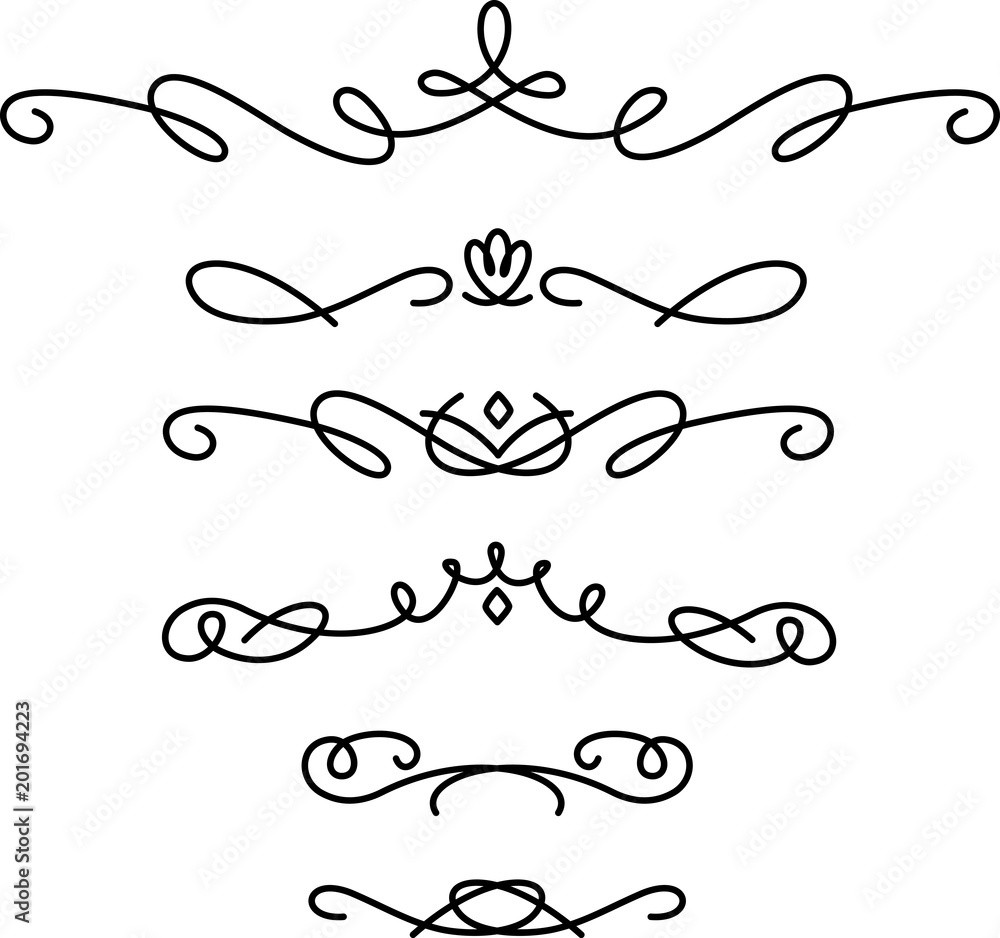Fototapety, obrazy: 手書きの飾り線のセット