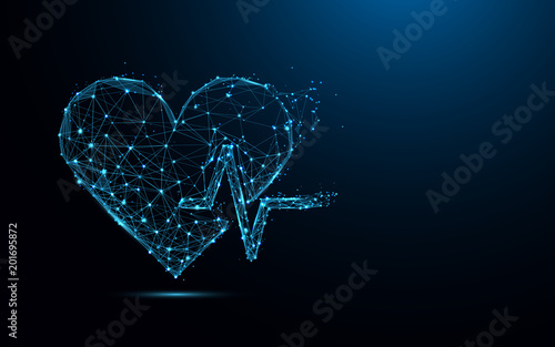 Photo Abstract heart beat form lines and triangles, point connecting network on blue background