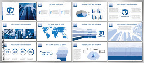 Fotografía  Business presentation template/ design - hd format - 1920x1080 px - fully adjustable vector design - replace text and photographs to create professional, good-looking business presentation