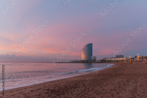 hotel in barcelona beach sunset