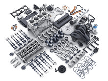 Car Engine Disassembled. Many Parts.