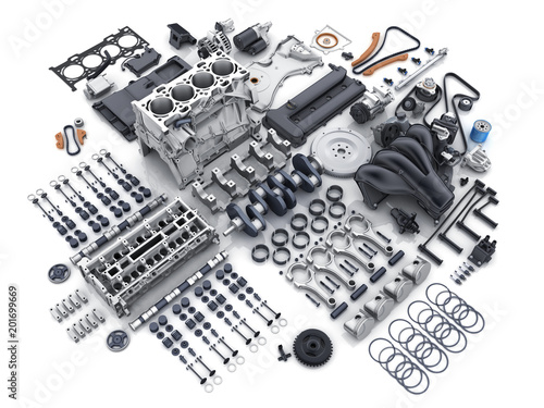 Fotografia Car engine disassembled. many parts.