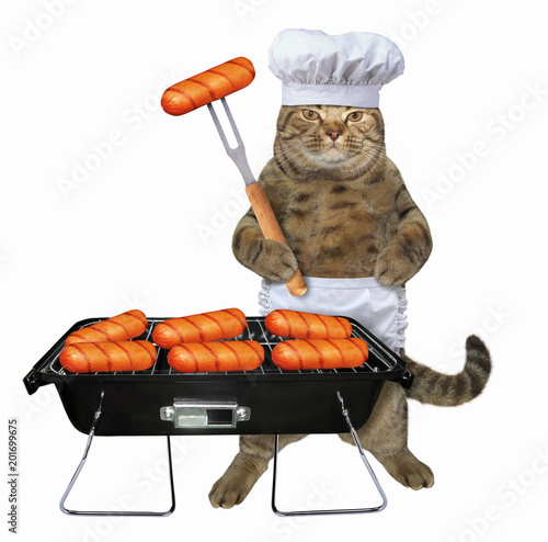 The cat chef cooks sausages on the barbecue grill. White background.