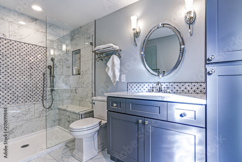 Fotografie, Obraz  New blue bathroom design with Marble shower Surround