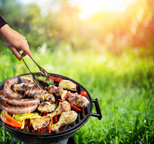In de dag Grill / Barbecue Picnic In Countryside - Barbecue Grill With Vegetable And Meat