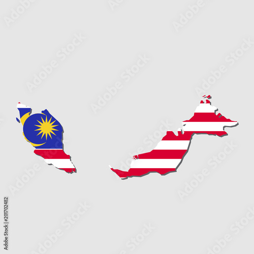 Photo  Malaysia Map Flag,Malaysia Map with Flag Vector