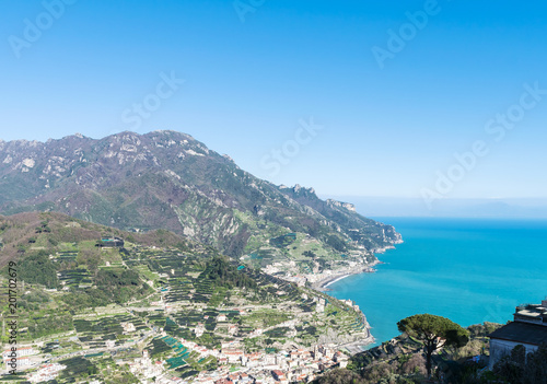 Aluminium Prints Blue a view from the height of Amalfi coast. lemon plantations