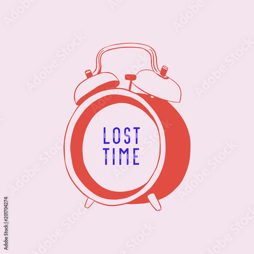 Fotografie, Tablou lost time alarm clock concept, vector illustration.