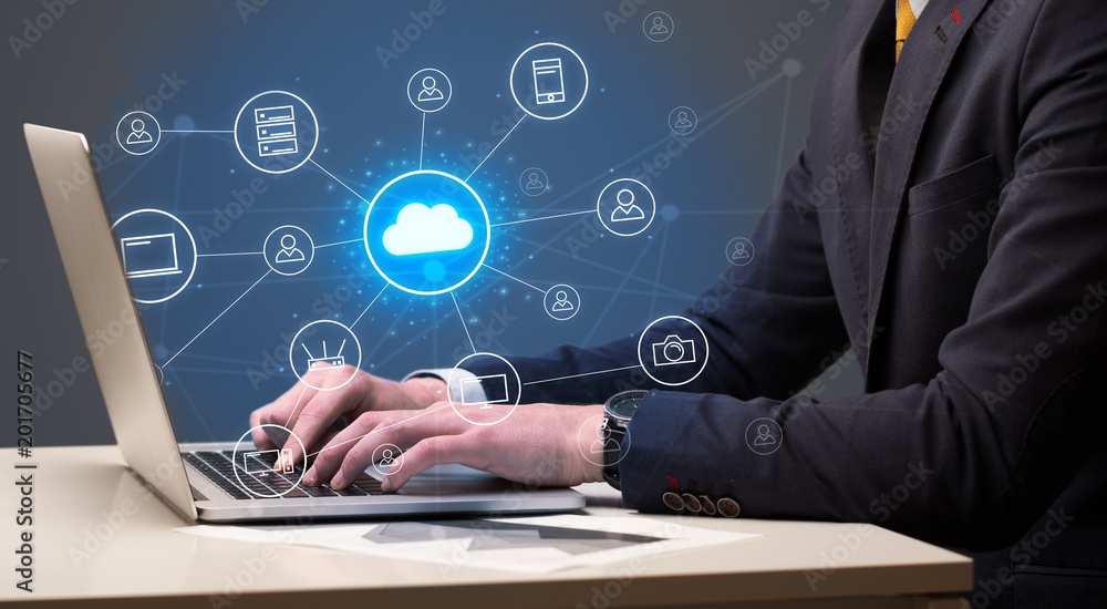 Fototapety, obrazy: Businessman hand typing with cloud technology system and office symbol concept