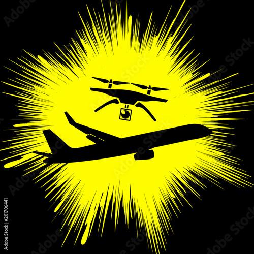 Drone causes air crash Wallpaper Mural