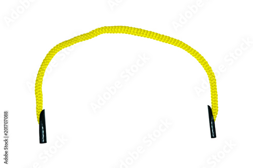 Fotografía  Yellow drawstring close-up, top view, isolated on white background