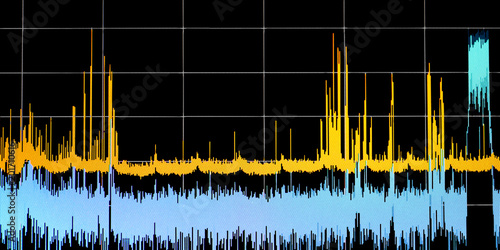 Fotografie, Obraz  Graphics chart on the monitor screen, scientific measurement control testing ana