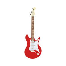 Guitar Electric Red Vector Rock Music Illustration. Instrument Musical White Isolated Background. Sound String Design Object Equipment Bass