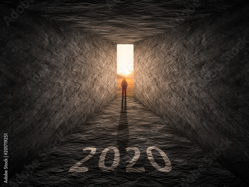 Poster The way forward to 2020 as thinking outside of box concept