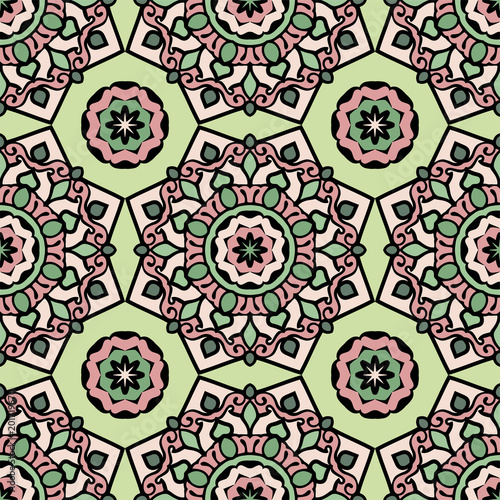 Printed kitchen splashbacks Moroccan Tiles Mandala seamless pattern with floral and geometrical ornament. Arabic, Islamic, indian, japanese motifs in a retro style.