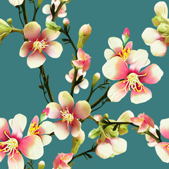 NaklejkaApple tree flowers Illustration. Watercolor seamless pattern.