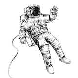 Cosmonaut or astronaut in spacesuit. Vector illustration isolated on white. - 201722689