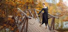 Modern Ballet Dancer In The Autumn Park