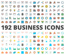 Business Icon Vector Colored Flat
