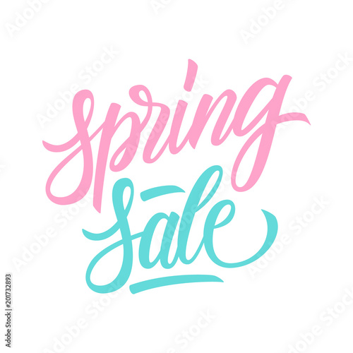 51daf28ee66 Spring Sale. Hand drawn lettering special offer template for seasonal  shopping