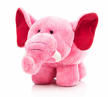 Plush Pink Elephant For Little Kids Isolated On The White Background With Shadow Reflection. Front View Of Soft Pink Animal Toy For Small Kids For Playing. Stuffed Pink Elephant With Red Ears