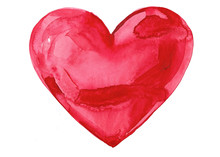 Red Watercolor Painting Of Heart