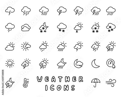 Papiers peints Cartoon draw weather hand drawn icon design illustration, line style icon, designed for app and web