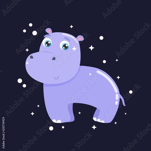 Keuken foto achterwand Draw Cute hippo vector illustration. Flat design.