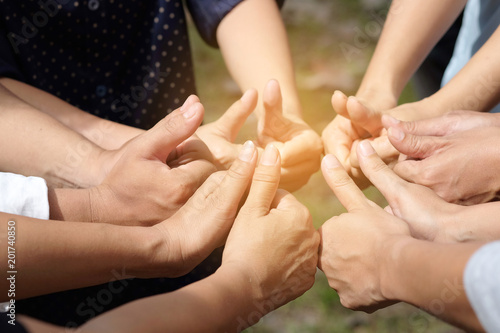 Symbol excellent  Hand thumbs of people corporate Meeting Teamwork Concept Fototapet