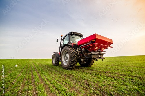 Foto  Farmer in tractor fertilizing wheat field at spring with npk