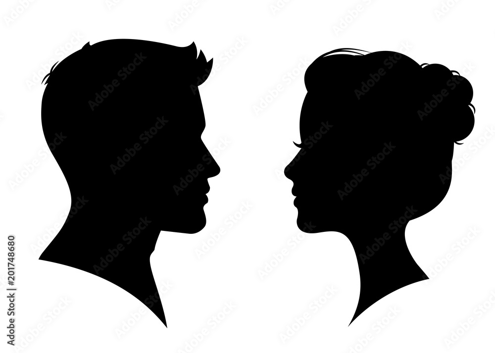 Fototapety, obrazy: Man and woman silhouette face to face – vector
