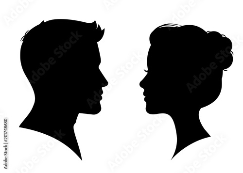 Fototapeta Man and woman silhouette face to face – vector obraz