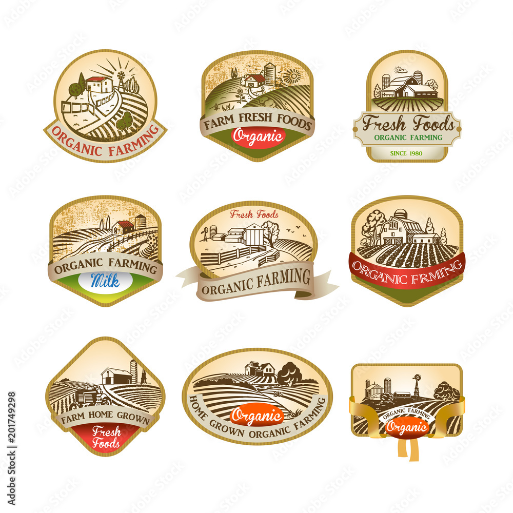 Fototapeta Labels with the image of a farms, fields and pastures.