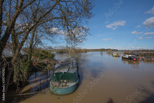 Fotografie, Obraz  View from Elvington bridge over the flooded river Derwent