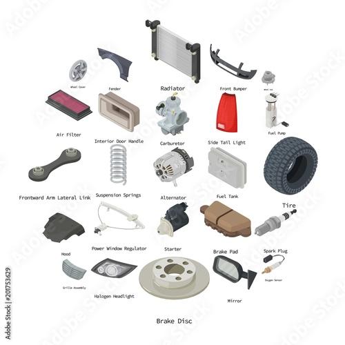 Photo Car parts icons set