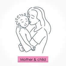 Mother With Child. Line Art Ic...