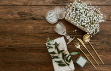 Wedding Table Decoration In Rustic Style On Wooden Background. Top View, Flat Lay, Copy Space