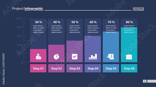 Fotografie, Tablou  Six Columns Bar Chart Slide Template