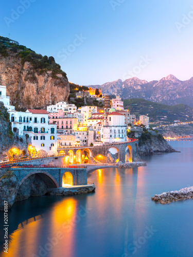 Foto op Canvas Mediterraans Europa Night view of Amalfi cityscape on coast line of mediterranean sea, Italy