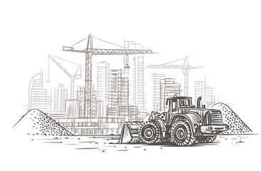 Dozer on construction site sketch. Vector. Layered.