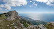 Panoramic view from Ai-Petri mountain towards Crimea coastline, Russia.