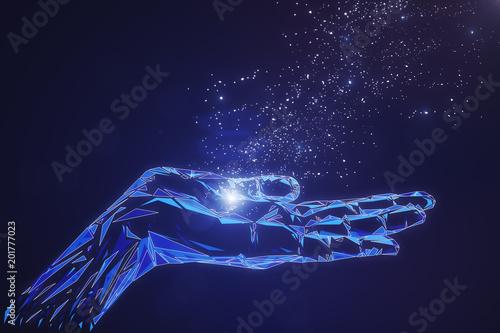 Fotografía  Glowing polygonal hand on blue background