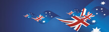 Australia Day Waving Flags Two Fold Blue Landscape Background